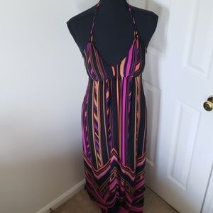 Carole Little. Boho Chevron Halter Maxi Dress